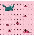 seamless Polka dot background with cat and mouse vector image