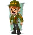 Cartoon army general in green helmet vector image