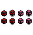 cube with heart in red and pink colors vector image