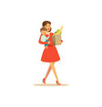 flat super mom shopping character with child vector image