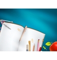 School supplies on blue background EPS 10 vector image