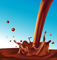 splash of hot coffee or light chocolate on blue vector image