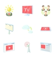 Broadcast icons set cartoon style vector image