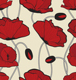 Red poppy flowers pattern vector image