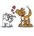 Dog in love vector image