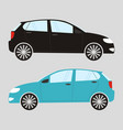 set of two isolated cars in flat style vector image