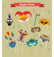 design for Jewish holiday Purim with masks and vector image