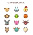 Black line Chinese zodiac animal icons vector image