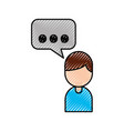 cartoon man with bubble speak dialog chat vector image