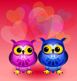 Cartoon owls in love vector image