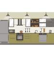 Modern kitchen interior flat design vector image