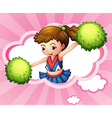 A cheerleader with green pompoms inside a cloud vector image