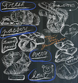 food - hand drawings on blackboard pack vector image