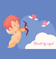 cupid hunting with archey bow flying hearts vector image