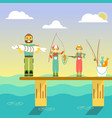 happy family go fishing in vector image
