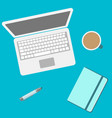 laptop and notebook and office supplies top view vector image