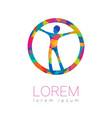 modern human silhouette in circle logotype vector image