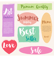 Set of painted brush style label vector image
