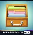 File Cabinet with Folders Icon vector image