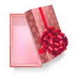 Gift box with pink ribbon flower and heart pattern vector image