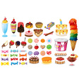 Assorted desserts and sweets vector image vector image