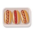 Plate of grilled hotdogs with mustard and ketchup vector image vector image