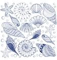 set Shells zentangle blue seashells for vector image