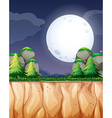 Nature scene with fullmoon and cliff vector image