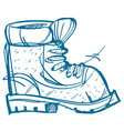 boot climber hiking climbing traveling sketch vector image