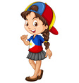 Philippines girl wearing a cap vector image