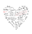 heart shape with math formulas vector image
