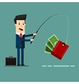 Businessman Catching Money With Fishing Rod vector image