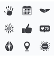 Hand icons Like thumb up and insurance symbols vector image