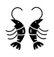 shrimp icon black sign on vector image