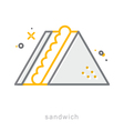 Thin line icons Sandwich vector image