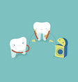 use dental floss white healthy teeth teeth and to vector image