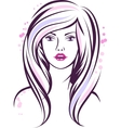 Fashion girl portrait Beautiful woman with long vector image