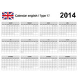Calendar 2014 English Type 17 vector image vector image