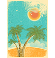 Vintage nature tropical island and sea background vector image