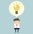 Creative businessman get the idea under a lightbul vector image