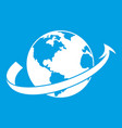 airplane fly around the planet icon white vector image