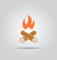 burning firewood isolated colored icon vector image