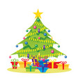 christmas tree isolated on white with gift boxes vector image