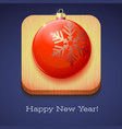 greeting card happy new year red christmas ball vector image