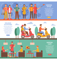 Hipster People Horizontal Banners vector image