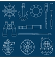Line flat marine icons set Nautical design vector image