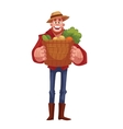 Man holding baskets of fruits and vegetable vector image