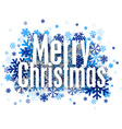 Merry christmas paper sign over snowflakes vector image
