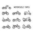 set of different types of mototechnics vector image