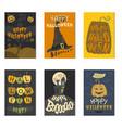 set of happy halloween greeting card vector image